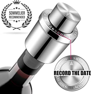 GiniHomer H4T Wine Stoppers, 1 pack, Silver