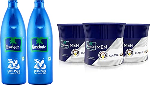Parachute Coconut Oil, 600 ml (Pack of 2) & Parachute Advansed Men Hair Cream, Classic, 100 gm (Pack of 3) product image