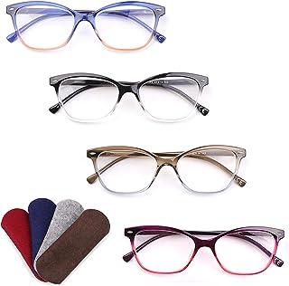 Kisdate 4 Pack Reading Glasses Blue Light Blocking Cat Eye Computer Readers for Women Fashion Designer Ladies Eyewear