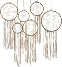 Ling's moment Floral Dream Catchers Handmade Floral Wreath Bohemian Wall Hanging Decorations Boho Wedding Backdrop (Set of 6)