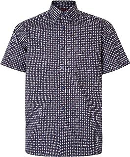 Kam Mens Dobby Print Casual Short Sleeve Shirt Navy 5XL