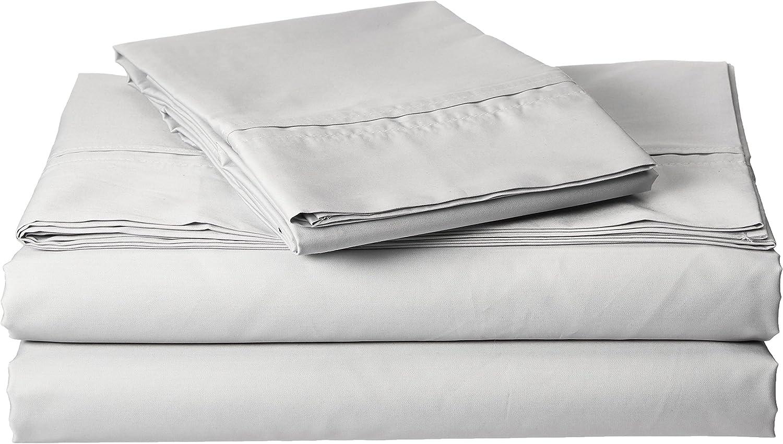 Egyptian Cotton Percale 350 Thread Count Deep Pocket Sheet Set Cal King Silver