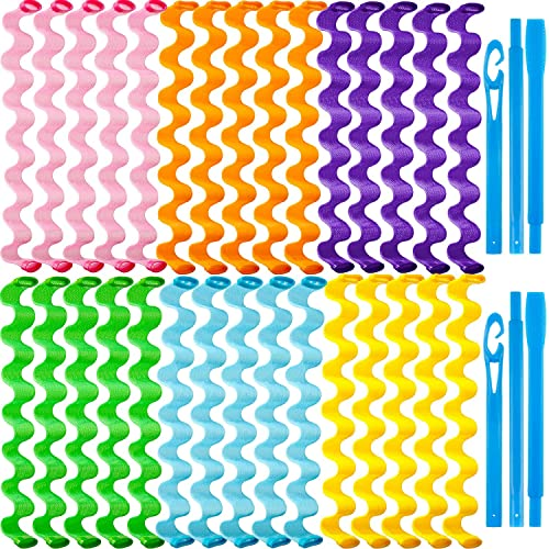 30 Pieces Hair Curlers Spiral Curls Styling Kit No Heat Hair Curlers Heatless Spiral Curlers Hair Rollers Wave Styles with 2 Pieces Styling Hooks for Most Hairstyles (50 cm, Mixed Color)