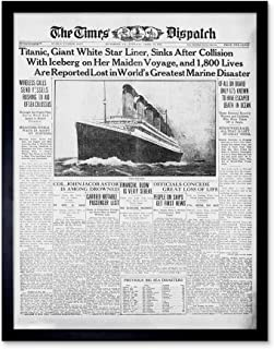 Newspaper Front Sheet Page Titanic Disaster 1912 Times Despatch Art Print Framed Poster Wall Decor 12x16 inch