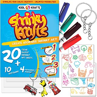 Shrinky Krafts Art Crafts Set - 20 Clear Shrinky Dinks Paper ( Large 8� x 10�), 10 Keychains, 36 traceable Images, and 4 Permanent Markers - Fun Creative Shrinky Charms for Kids - Easy at Home.