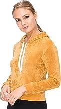 J. Village Women Velvet Hoodie Sweatshirt - Premium Soft Long Sleeve Drawstring Pullover Crop Top Sweatshirt