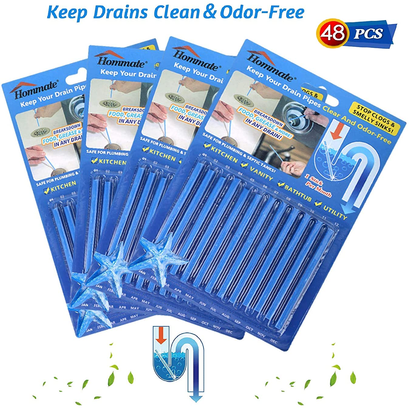 Drain Sticks Sink Sticks Drain Stix Drain Cleaner & Deodorizer Sticks for Clogged Odor Kitchen Bathroom Sinks Pipes Septic Tank Safe As Seen On TV Unscented Non-Toxic (48pcs, Blue)