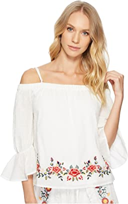 J.O.A. - Embroidered Off the Shoulder Top