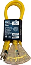 6-ft 12/3 Heavy Duty 3-Outlet Lighted SJTW Indoor/Outdoor Extension Cord by Watt's Wire - Short Yellow 6' 12-Gauge Grounded 15-Amp Three-Prong Power-Cord (6 foot 12-Awg)