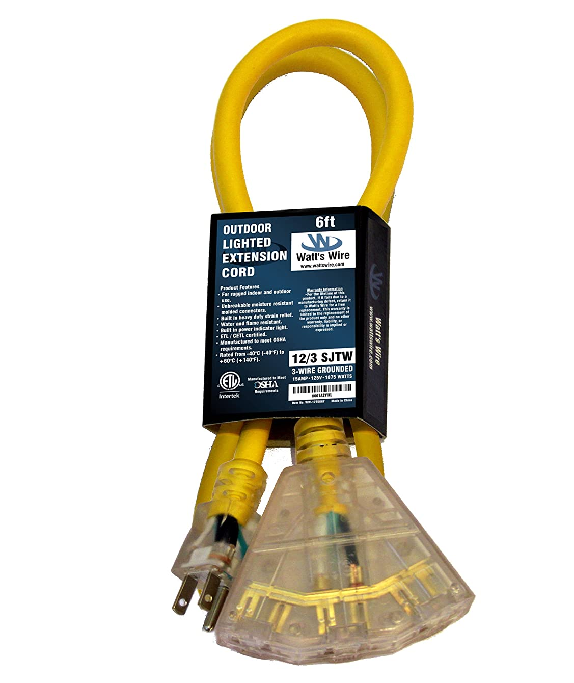 6-ft 12/3 Heavy Duty 3-Outlet Lighted SJTW Indoor/Outdoor Extension Cord by Watt's Wire - Short Yellow 6' 12-Gauge Grounded 15-Amp Three-Prong Power-Cord (6 foot 12-Awg) jzvdmfwkmutsy40