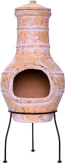 Nexos Terrassenofen Gartenkamin Terracotta 85 cm Gartenofen Stahlgestell Feueröffnung20x15 cm Schlotöffnung 26x15 cm robust 19,5 kg Grillkamin