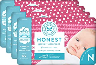The Honest Company Baby Diapers with True Absorb Tech, Holiday Trimmings, Size 0 Newborn, 128 Count