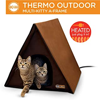 K&H Pet Products Outdoor Multi-Kitty A-Frame Heated and Insulated, Chocolate Brown
