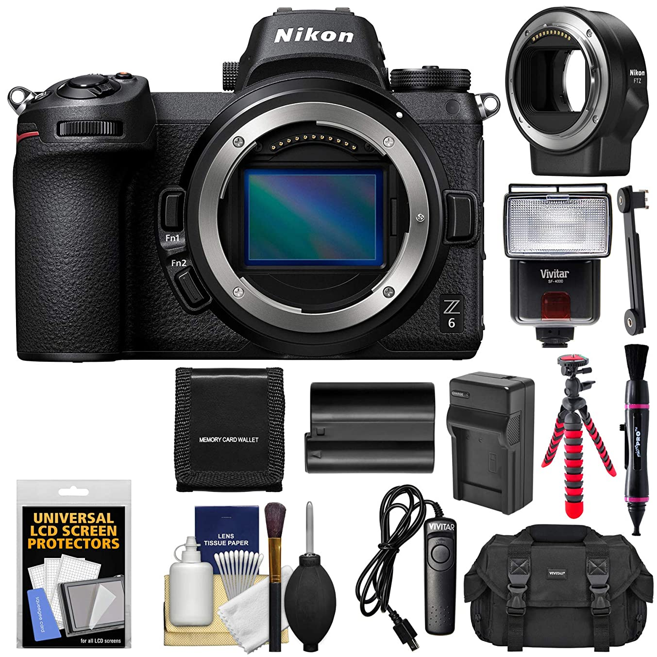 Nikon Z6 Mirrorless Digital Camera Body with Mount Adapter FTZ + Battery & Charger + Case + Tripod + Flash + Remote + Kit