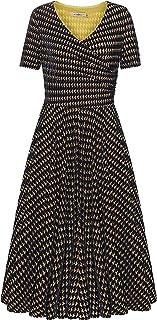 LOKTINKET Women's Velvet V-Neck Short Sleeve Bodycon Flared Sexy Dress