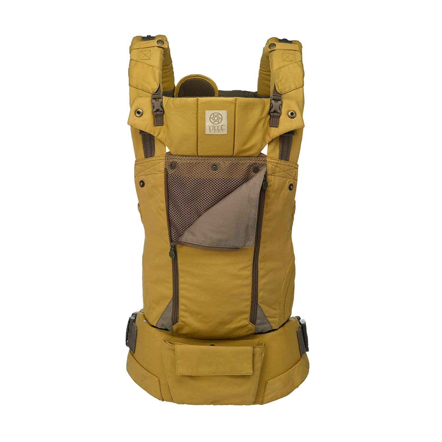 L/ÍLL/Ébaby Serenity All Seasons Six-Position Ergonomic Baby and Child Carrier with Convertible Tote Amber Plume