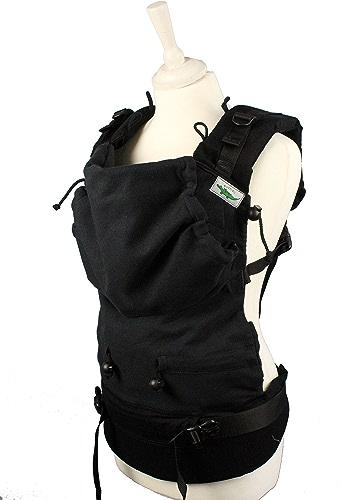 Buzzidil Porte-bébé en toile noir – Aide de transport pour bébé et enfant de 0 à 48 mois   Portage ventral, dos et hanche   Porte-bébé Fullbuckle avec fermeture sans liens