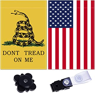 BP&Q Don't Tread On Me Flag – Gadsden Garden Flags Set of 2 – USA American Garden Flags – Weather Resistant – Premium Quality Material – Includes Anti-Wind Clip and Garden Flag Stopper