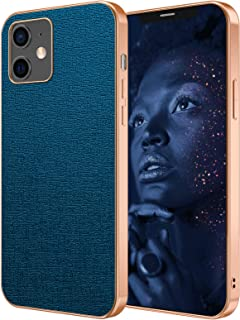 HPDUNO iPhone 12 Case iPhone 12 Pro Cover, Sparkly PU Leather Basic Cases with Rose Gold Edge, Anti-fingerprint Shockproof...