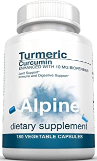 Alpine Nutrition Turmeric Curcumin 1500mg with BioPerine 95% Standardized Curcuminoids 180 Count Non-GMO Certified Organic Vegan Capsules for Joint & Immune Support