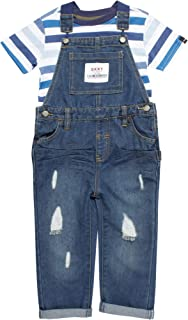 DKNY Toddler Boys' Overall Set – Stretch Denim Jeans Overalls with Short Sleeve T-Shirt