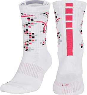 Nike Elite Crew Kay Yow White/Black/Vivid Pink Basketball Unisex Socks (Large)