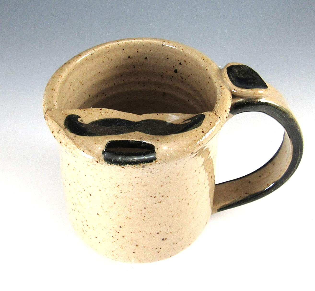 8-9 Ounces Hand Made and Hand Painted Pottery Mustache Mug