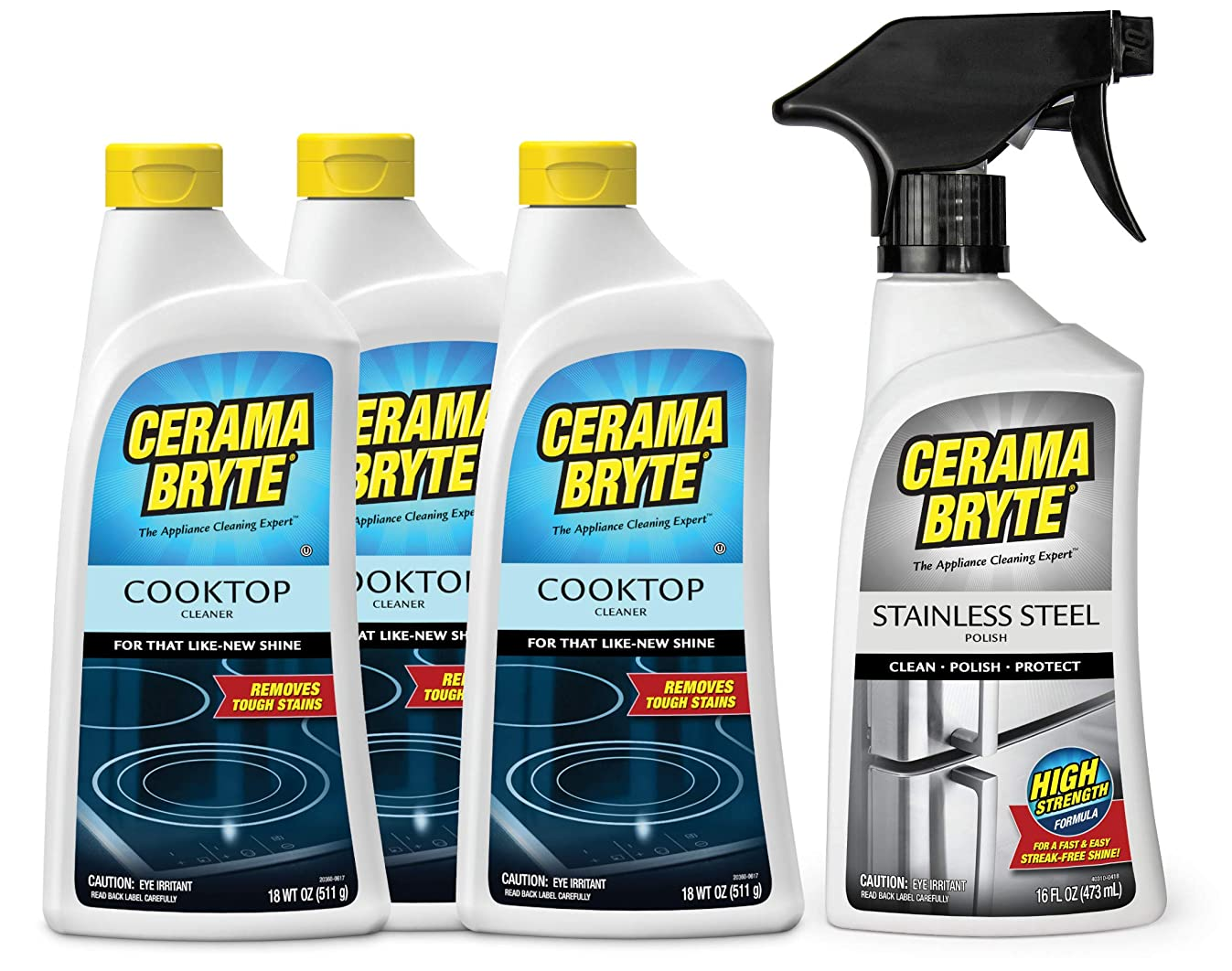 Cerama Bryte Glass Ceramic Cooktop Cleaner, 3-18 Ounce Cooktop Cleaner With Stainless Steel Polish