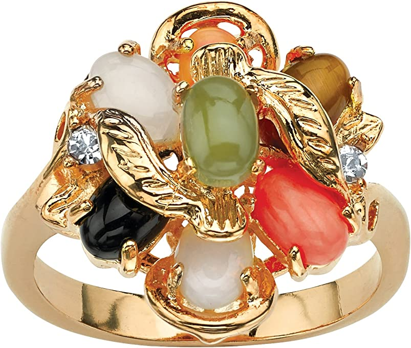 Palm Beach Jewelry 18K Yellow Gold Plated Oval Shaped Genuine Green Jade, Tiger's Eye, Coral, Onyx and Opal Ring