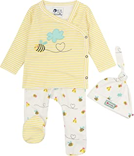 Ensemble bébé 3 pièces en coton bio sans produits chimiques Motif abeille Unisexe pour bébé garçon ou fille
