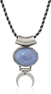 Alex and Ani Women's Blue Lace Agate 22 inch Adjustable Necklace, Rafaelian Silver