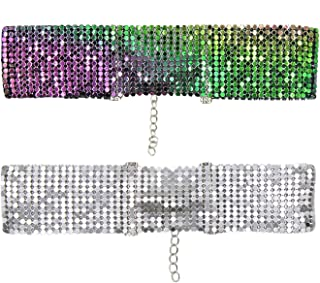 (Pack of 2) Women Girls Glitter Rhinestone Chocker Necklace Sequins Wide Chocker Collar Jewelry Set