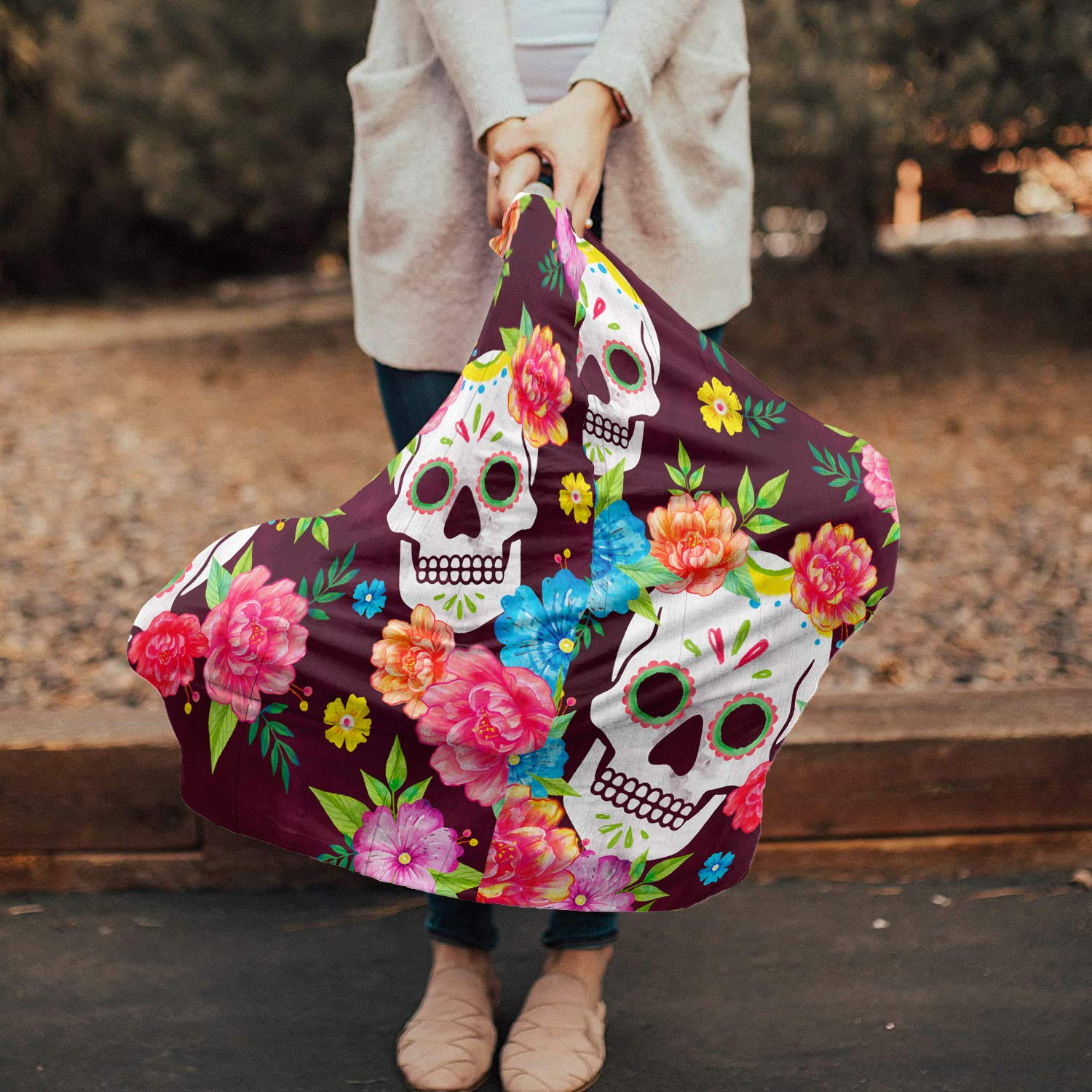 Baby Car Seat Covers Sugar Skull, Nursing Cover Breastfeeding Scarf/Shawl, Infant Carseat Canopy, Stretchy Soft Breathable Multi-use Cover Ups, Skeleton Flowers Rose Watercolor Colorful Floral