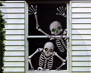 Hilarious Scary Skeletons Window Door Mural Halloween Decoration