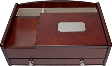 Mele & Co. Davin Men's Wooden Dresser Top Valet in Dark Burlwood Walnut Finish (Personalized)