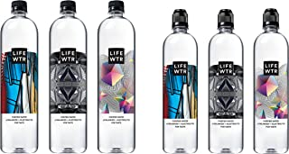 LIFEWTR, Premium Purified Water, pH Balanced with Electrolytes for Taste, 700 mL flip cap bottles (Pack of 12) and 1 liter bottles (Pack of 6)
