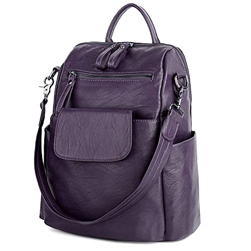 3a3a8118a0 UTO Women Backpack Purse PU Washed Leather Ladies Rucksack Shoulder Bag