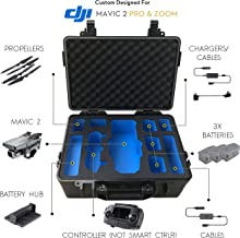 DJI Mavic Pro 2 Case – Waterproof IP67 Rated Carrying Case with Precision Machined Black and Blue EVA Foam Insert. Rugged ABS Hardshell - with Shoulder Strap - Does Not Accommodate Smart Controller