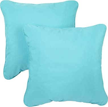 Mozaic AZPS2556 Indoor Outdoor Sunbrella Square Pillow with Corded Edges, Set of 2, 18 inches, Canvas Aruba Blue
