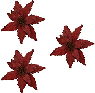 Set of Three! Christmas Decorative Tree Clip with Fully Open White OR RED Woodland Country Poinsettias (Deep Red)