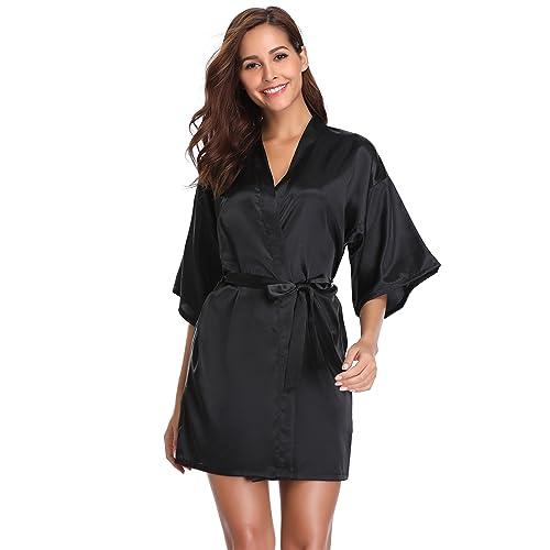 Vlazom Womens Kimono Robes Dressing Gown Satin Bathrobe Nightdress Pure  Colour Short Style with Oblique V 5ef5206cb
