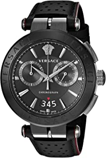 Versace Men's Aion Chrono Stainless Steel Quartz Watch with Leather Calfskin Strap, Black, 24 (Model: VBR030017)