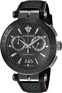 Men's Aion Chrono Stainless Steel Quartz Watch with Leather Calfskin Strap, Black, 24 (Model: VBR030017)