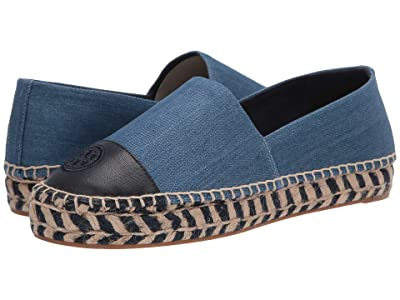 Tory Burch Color Block Platform Espadrille (Denim Chambray) Women