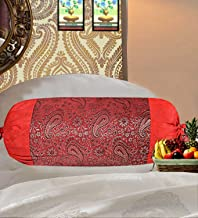 Real Online Seller Indian Polydupion Cylindrical Tube Pillow Bolster Pillow Covers Red Jacquard Brocade Border Large Couch Round Cylinder Cushion Covers (Set of 2)