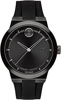 Sponsored Ad - Movado Men's Stainless Steel Swiss Quartz Watch with Silicone Strap, Black, 20 (Model: 3600621)