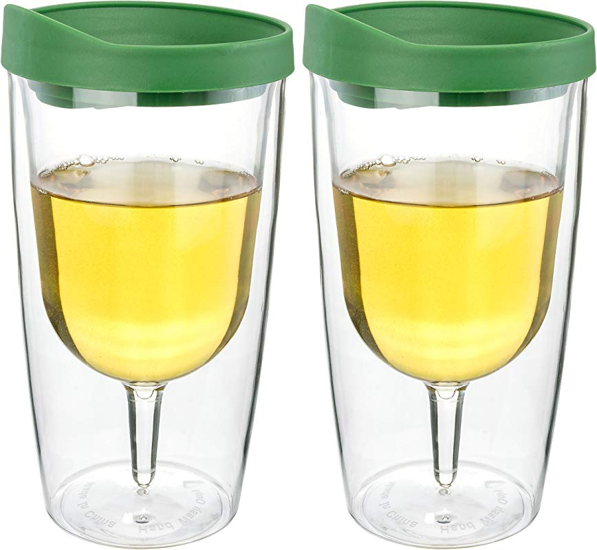 Southern Homewares SH 10084 S2 Tumbler 10oz Insulated Vino Double Wall Acrylic Green Drink Through Lid Wine 2Go Set Of 2 10 Oz Verde