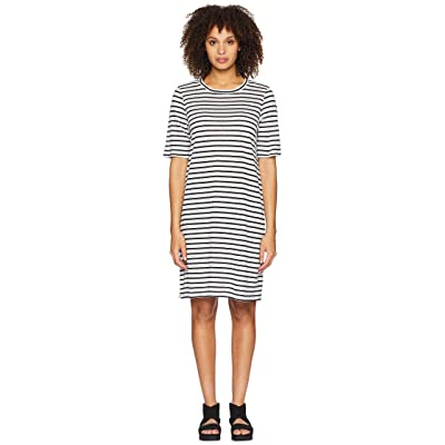 Eileen Fisher Round Neck Knit Linen Dress (White/Black) Women