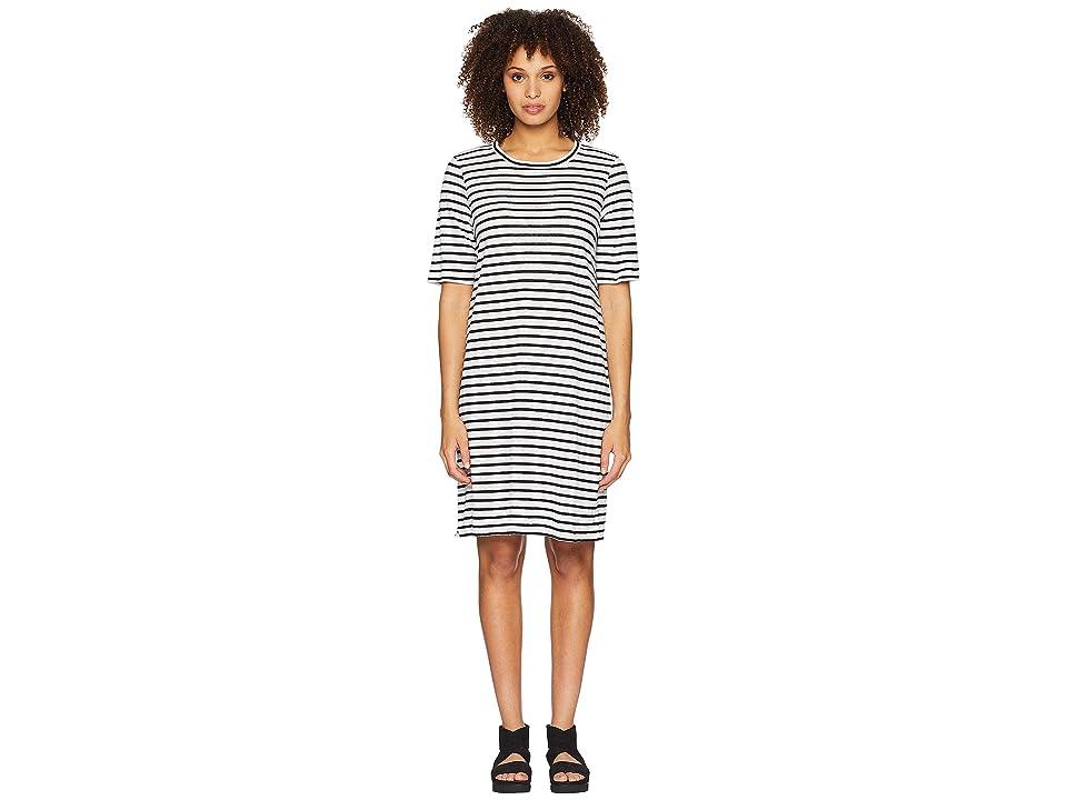Eileen Fisher Round Neck Knit Linen Dress (White/Black) Women