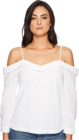 1.STATE - Cold Shoulder Cinched V-Neck Blouse